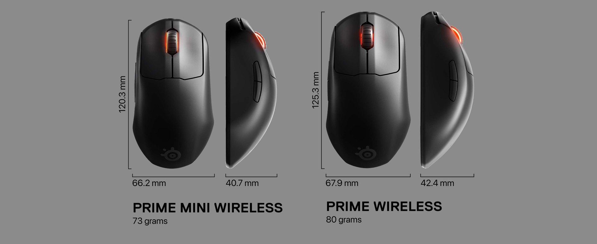 Schemat pokazujący różnicę w wielkości pomiędzy Prime i Prime Mini. Tekst po lewej: Prime Mini Wireless, 73g. Tekst po prawej stronie: Prime Wireless, 80g.