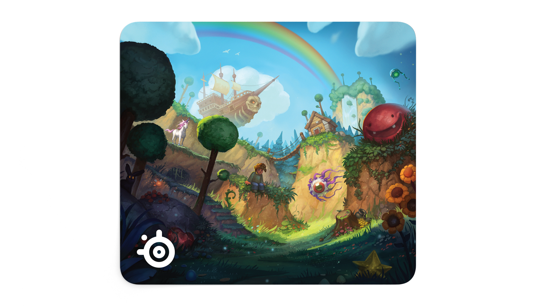 Frontal image of mousepad with whimsical creatures in a natural landscape.
