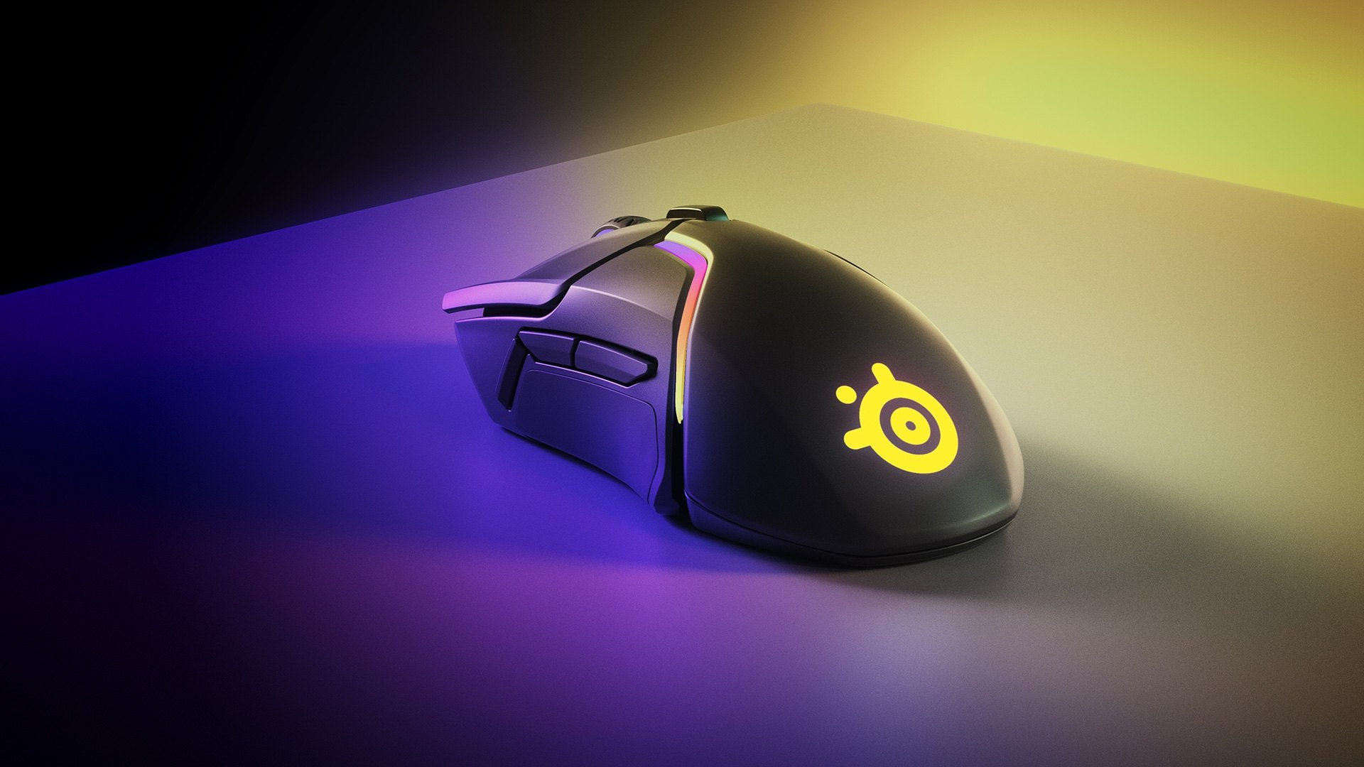 Rival 650 wireless on a mousepad at an angle with bright lighting