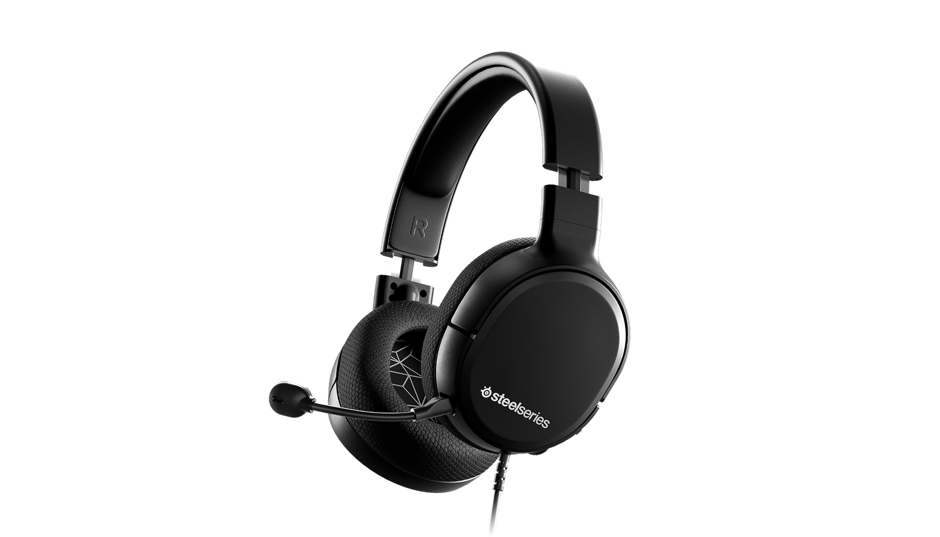 Arctis 1 gaming headset angled with microphone attached.