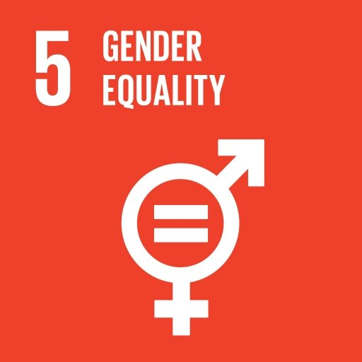 """UN sustainable development goal logo displays gender symbols and the text """"gender equality""""."""