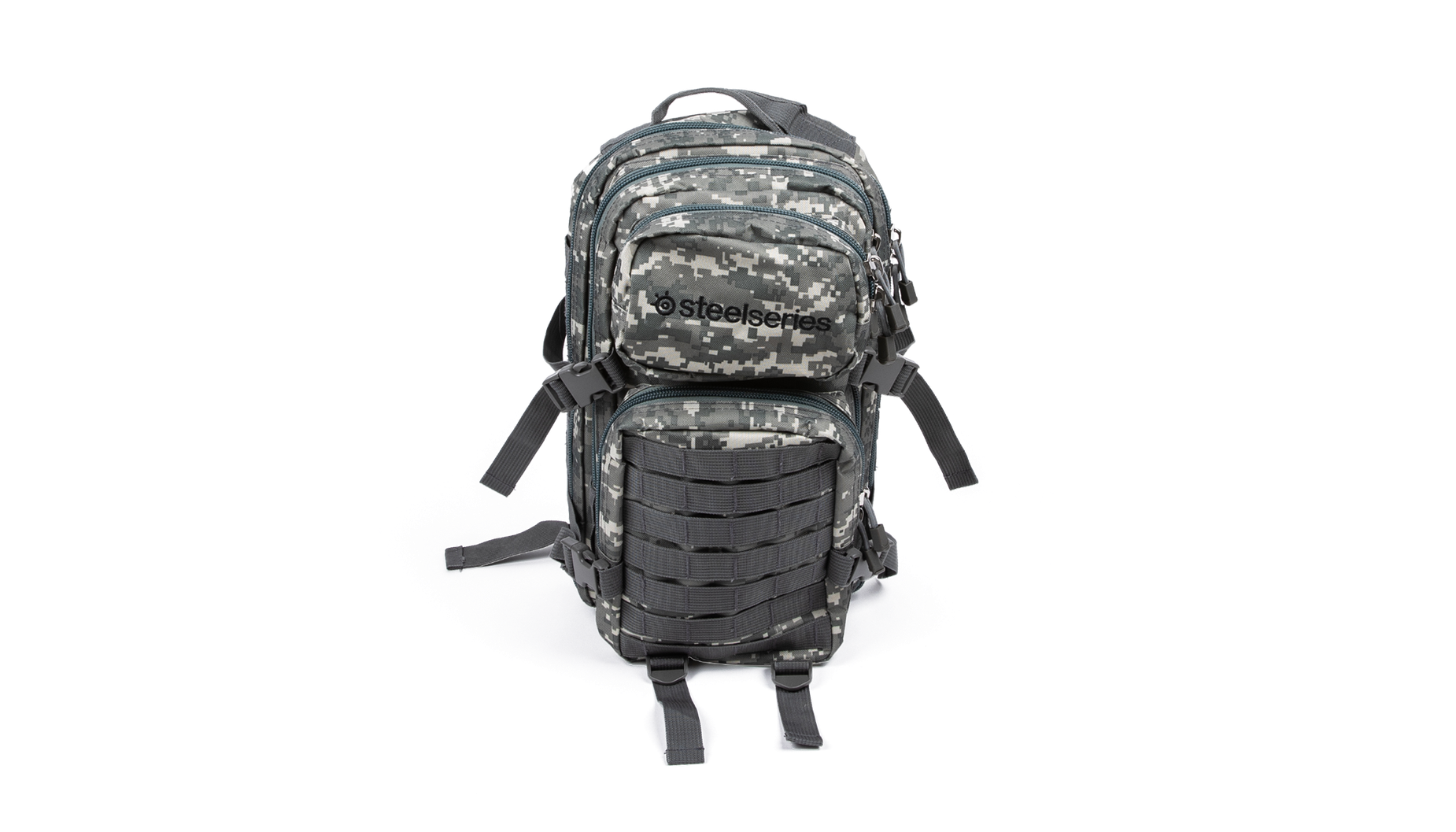 Military themed camo backpack viewed from behind