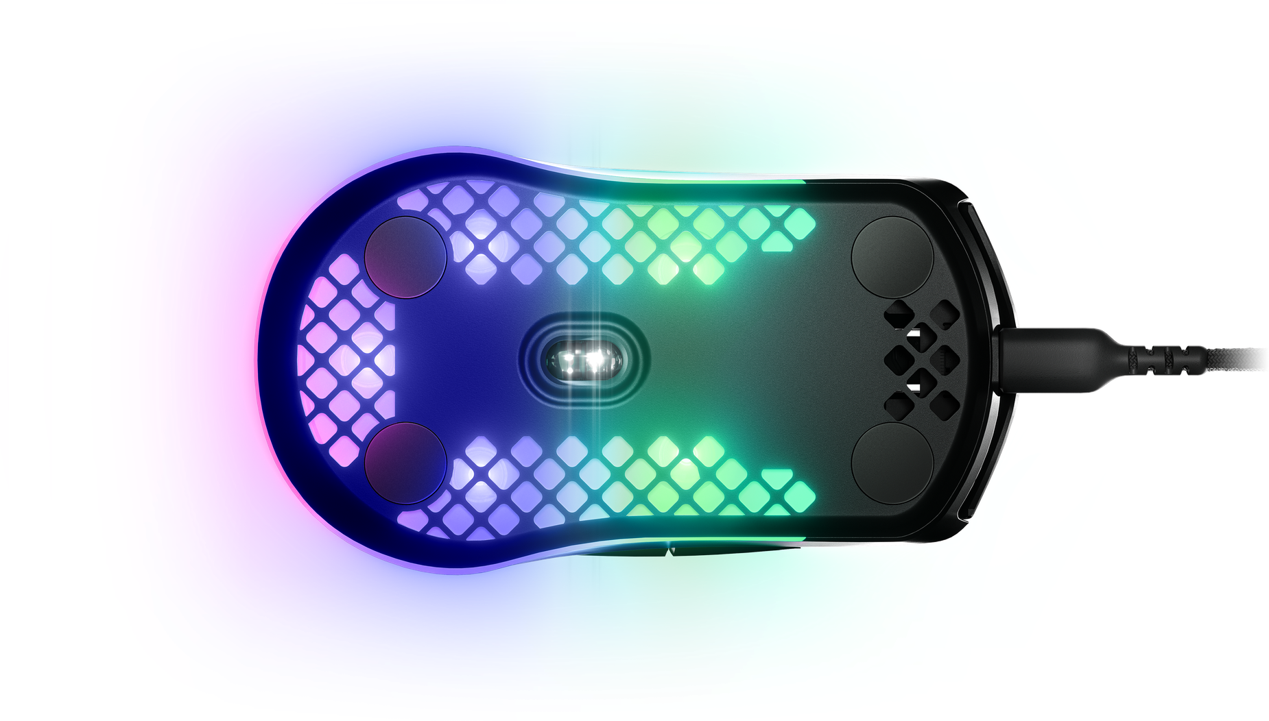 Aerox mouse viewed from the bottom to show the glide skates and sensors.