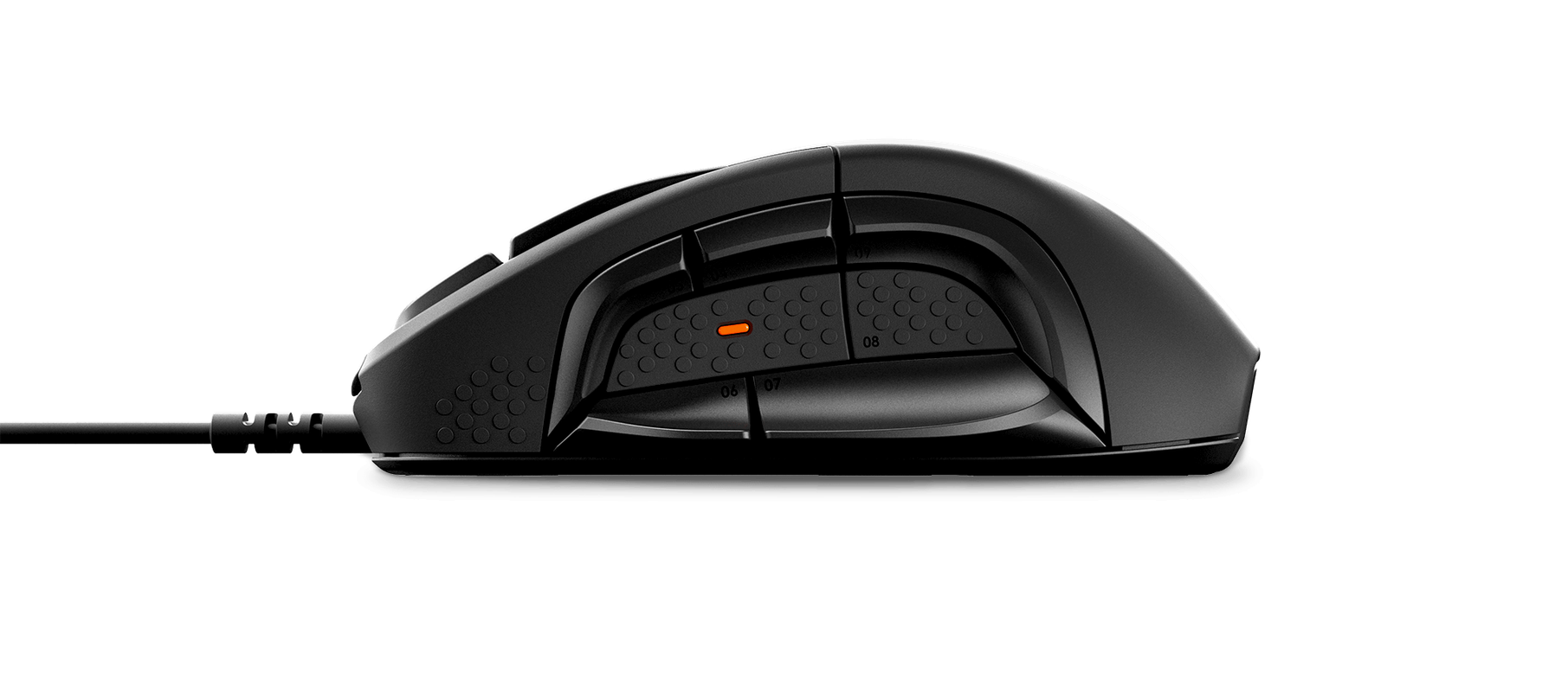 Rival 500 side view showing off the unique 12 button layout