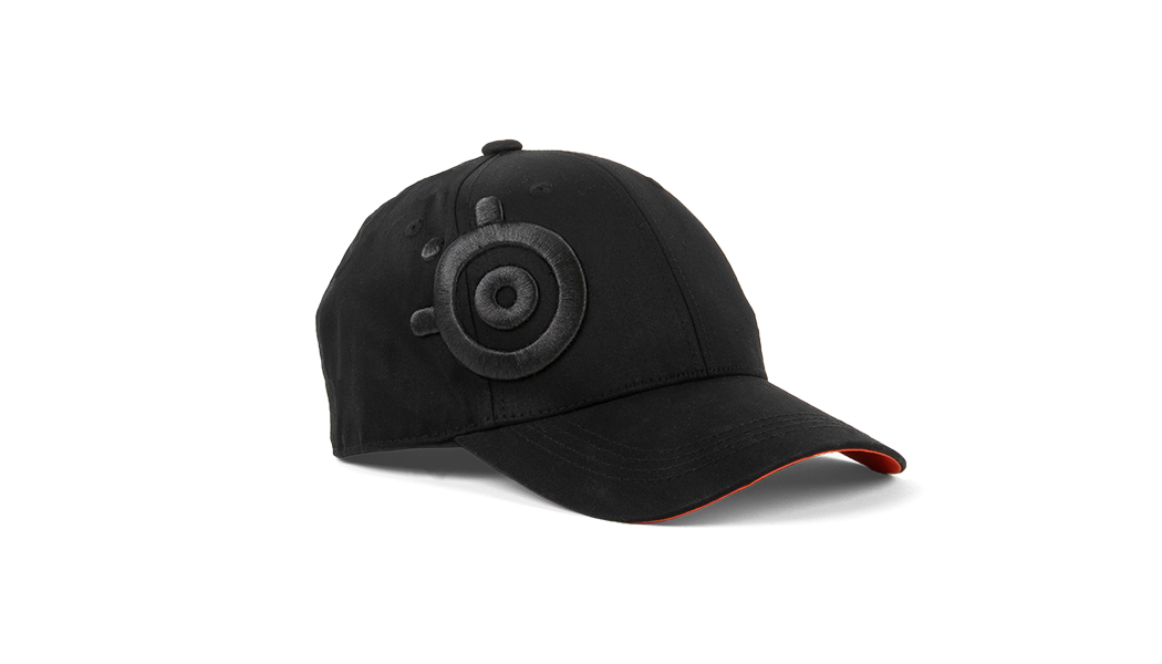 Black steelseries branded baseball cap
