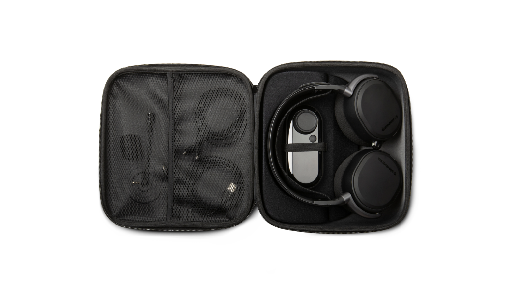 Arctis Pro Case laying flat with interior containing full contents