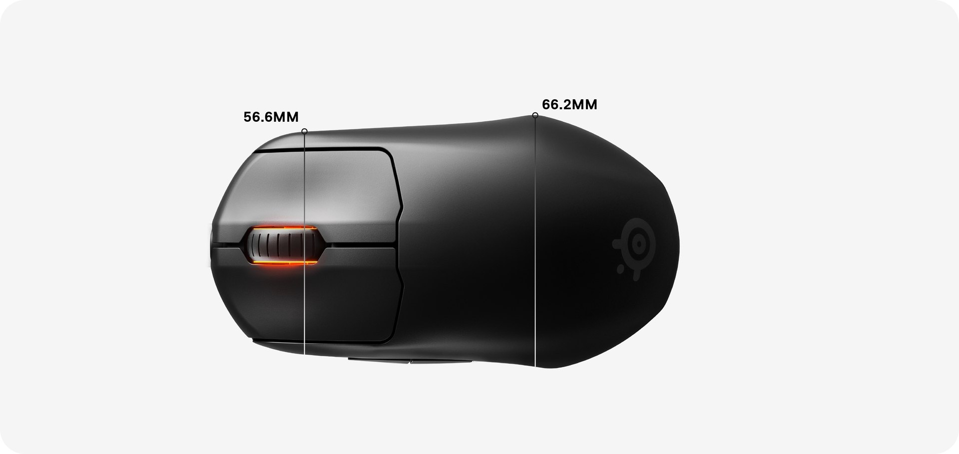 Overhead view of the Prime Mini Wireless mouse dimensions, with width listed as 56,6 mm across the scroll wheel and 66,2 mm width listed across the widest part of the mouse.