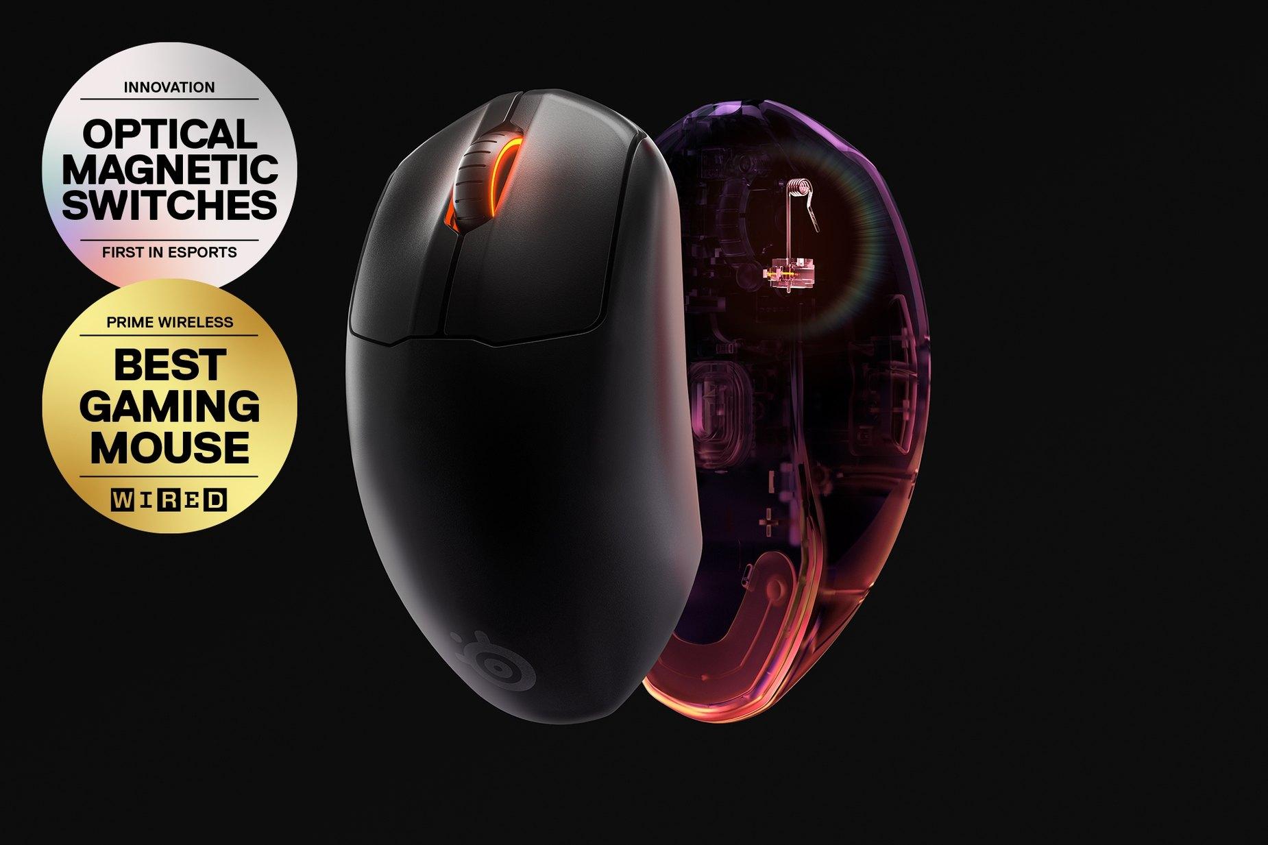 Dwie myszy Prime Wireless: jedna ukazuje podpórkę na dłoń, a druga – czujnik.