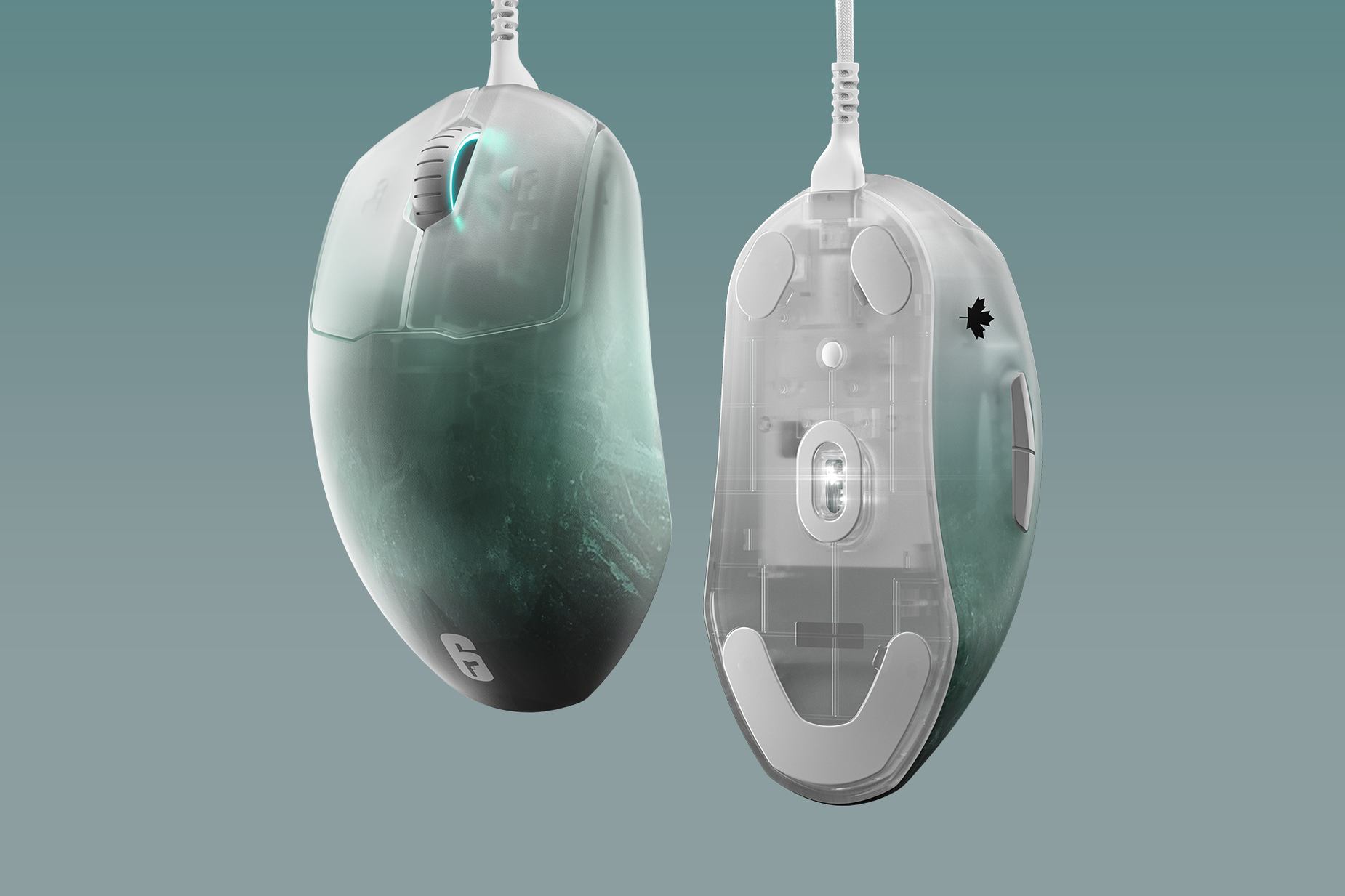 Two Prime mice: one showing the palm rest and the other showing the sensor.