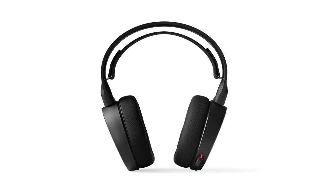 Frontal view of headset with microphone in the retracted position