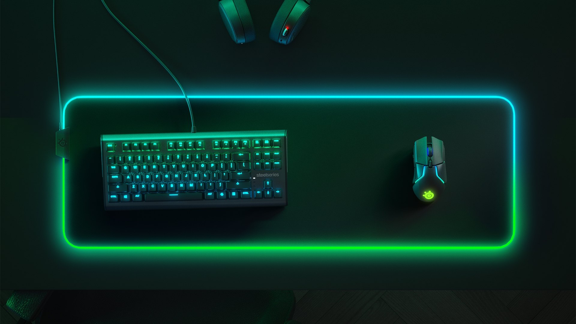 Prism mouse pad with RBG illumination and peripherals to show scale