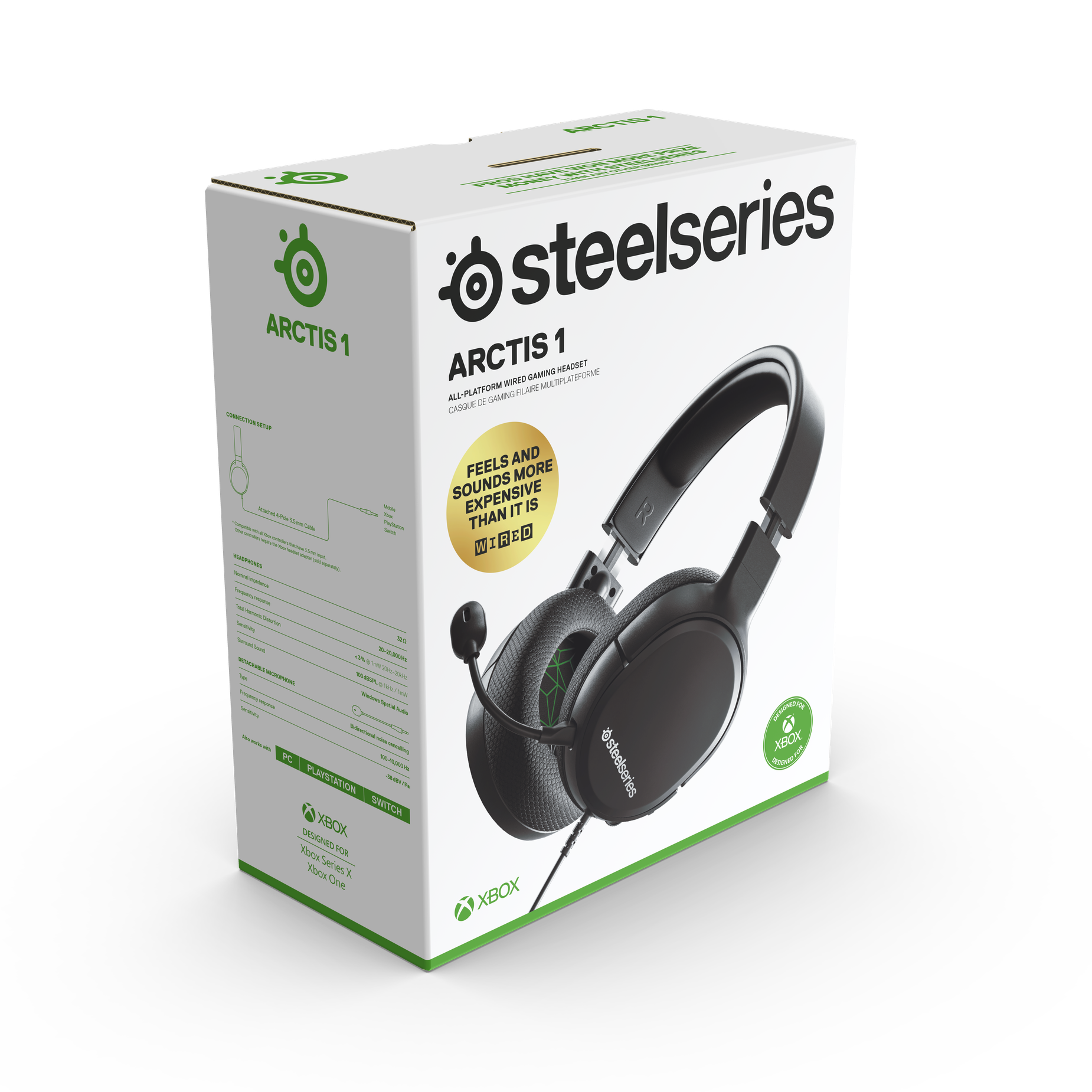 Retail packaging for the Arctis 1 for Xbox gaming headset.