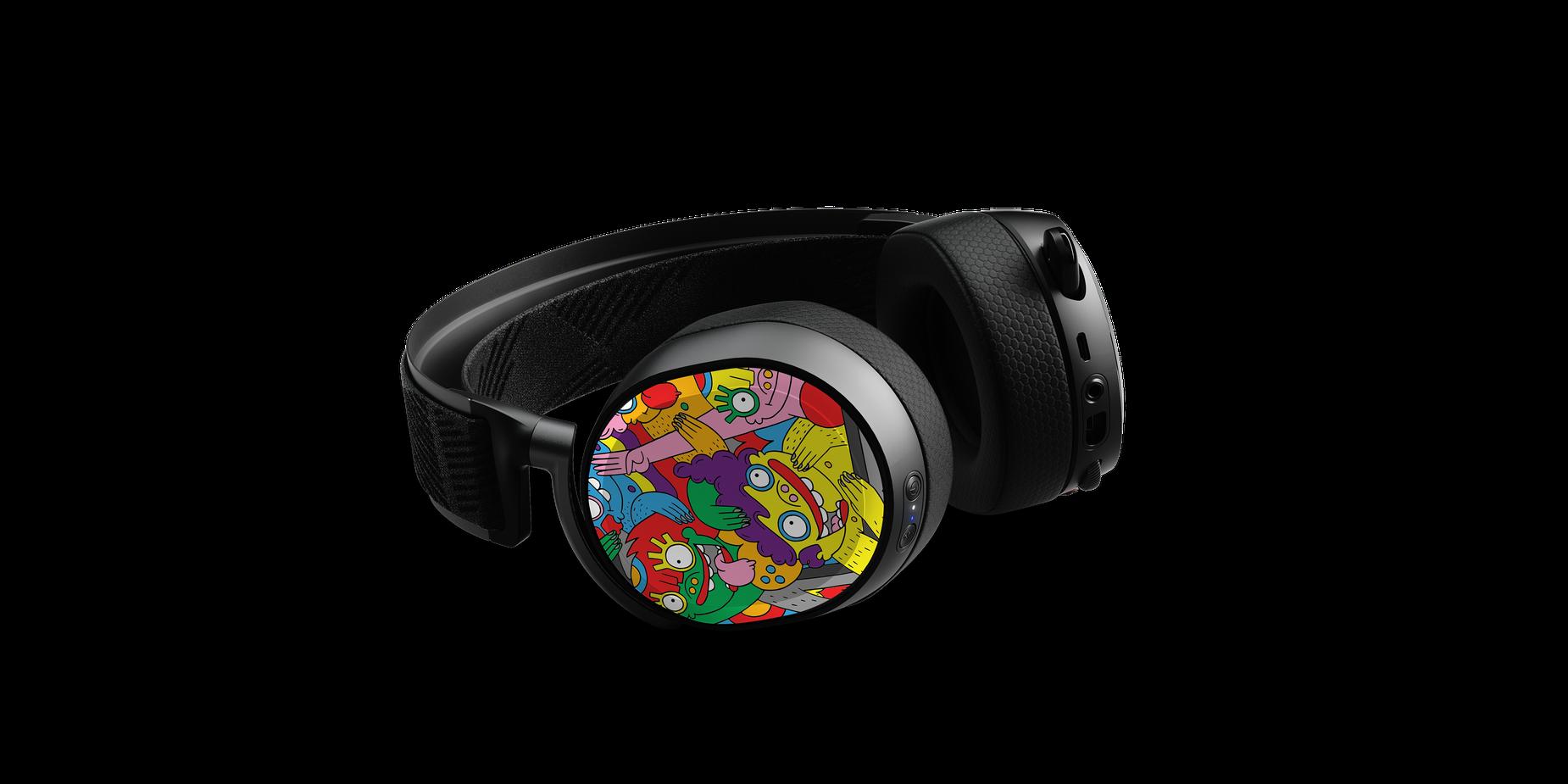 Arctis Pro speaker plates designed by artist Lauren Asta shown on a headset render lying flat