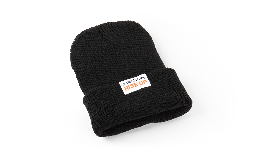 SteelSeries logo beanie viewed from the side
