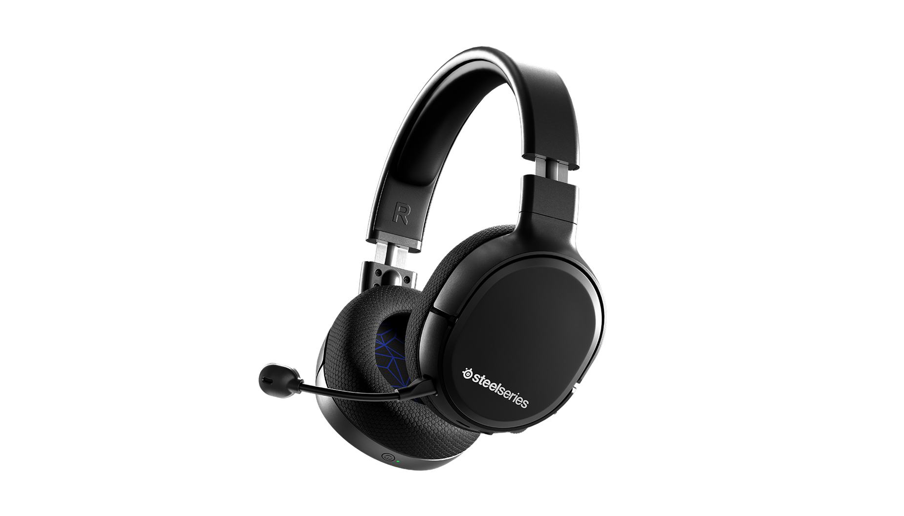 Vue de biais du casque audio de gaming Arctis 1 Wireless pour PS4 avec le micro attaché