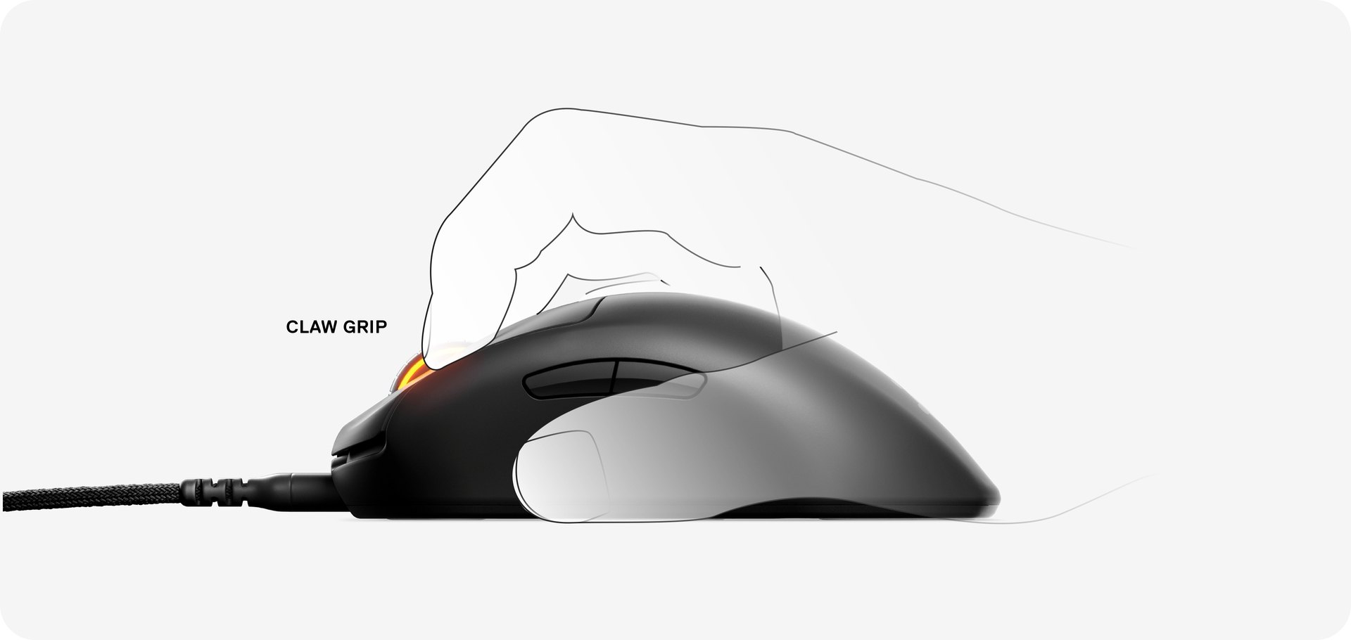 Illustration of a hand using the Prime Mini mouse with a claw grip.