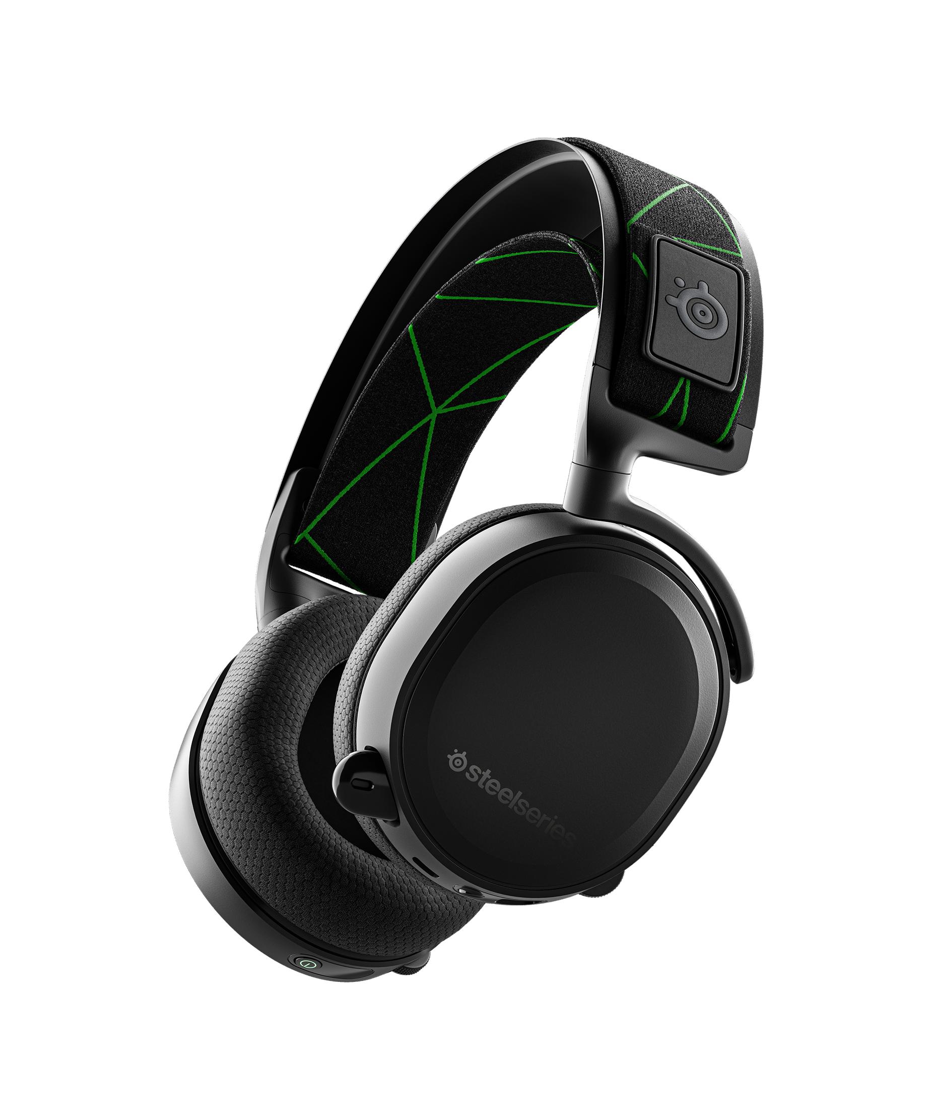 Product render of headset floating in blank space