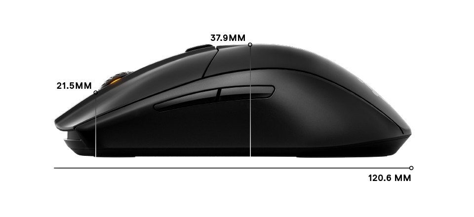 Rival 3 Wireless side dimensions: length 120.6mm, height front 21.5mm, height middle 37.9mm