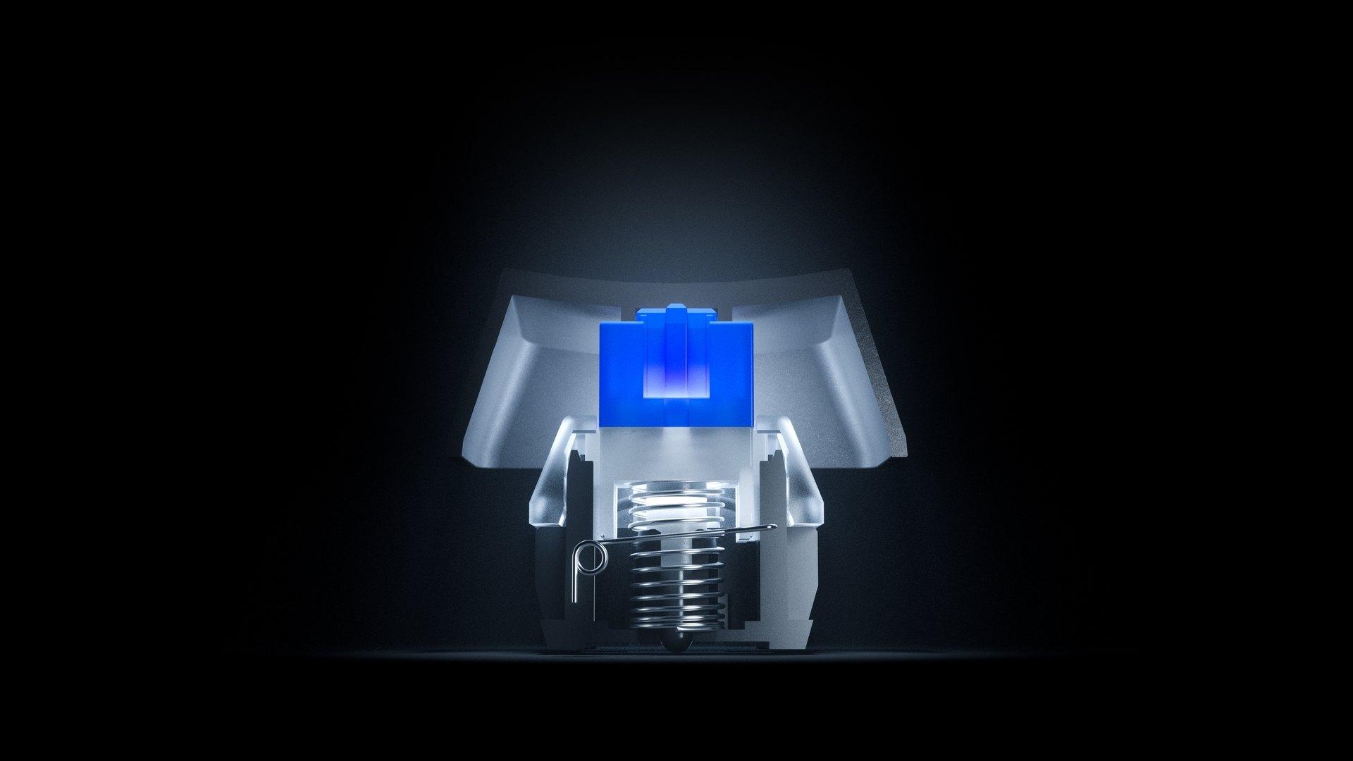 Röntgenbild von einem mechanischen Apex 5 Hybrid Schalter, das sein Innenleben zeigt