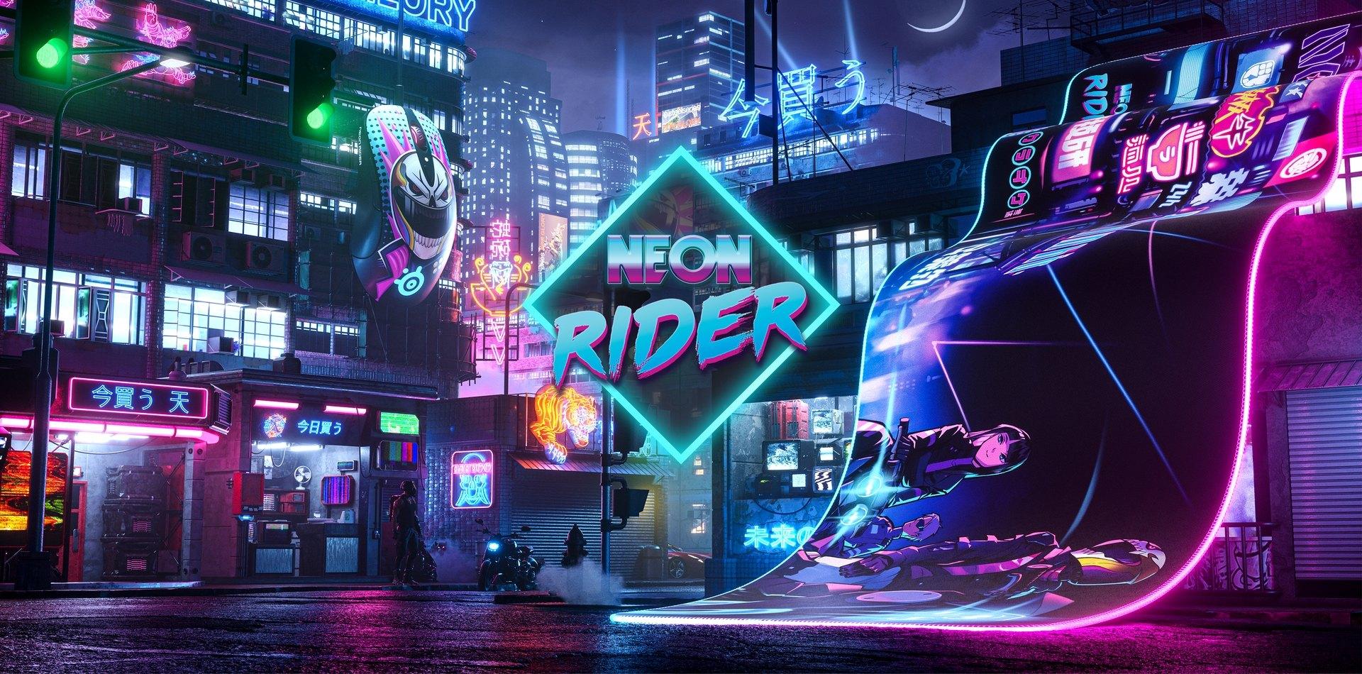 Futuristic cityscape, Neon Rider