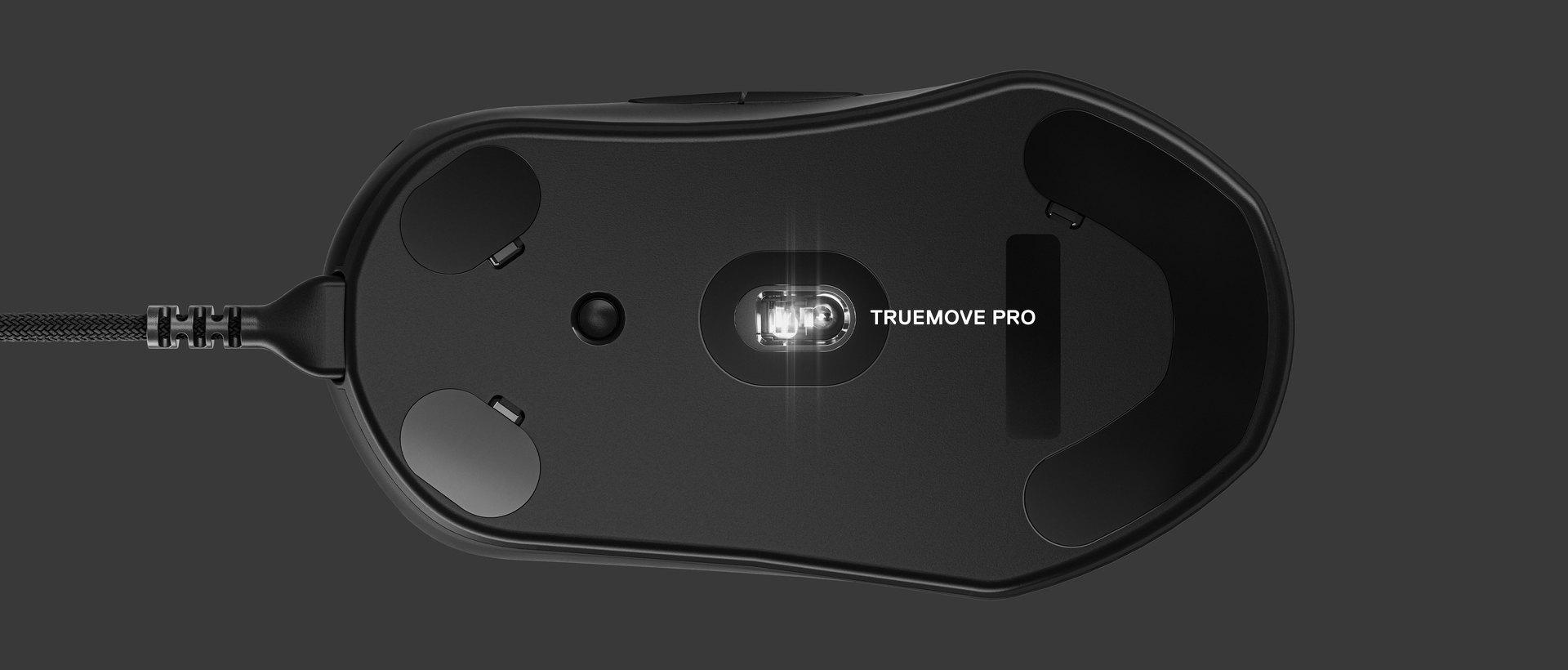 Vue du dessous de la souris avec une indication identifiant le capteur. Texte à droite: TrueMove Pro.