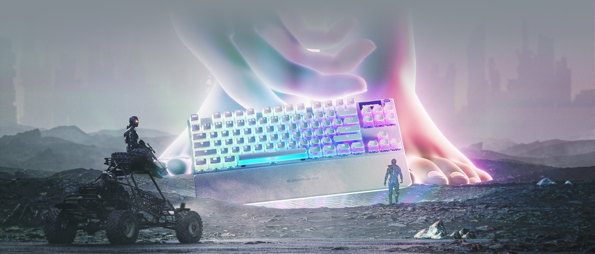 A giant otherworldly being stands before a human, placing an Apex 7 TKL Ghost keyboard before them.