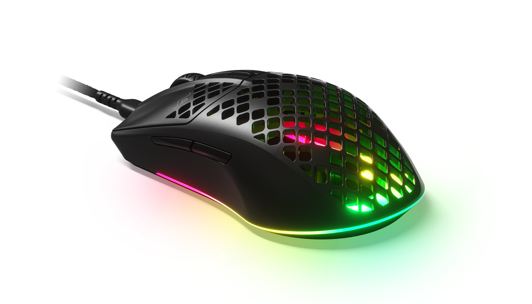The Aerox 3 mouse displayed from a the back highlighting the comfortability of the grip and rear RGB