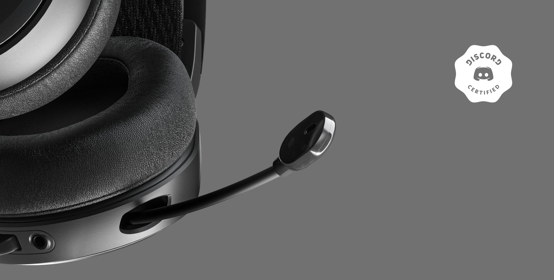 A closeup of the Arctis Prime's clearcast microphone.