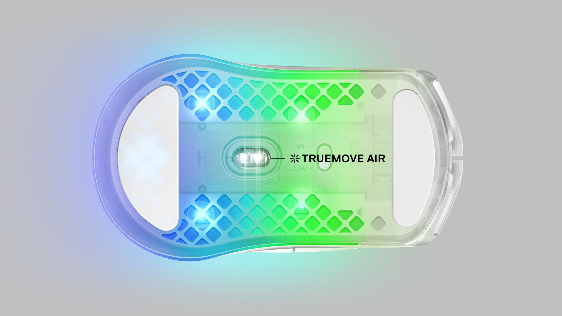 """An Aerox 3 Wireless mouse shown from beneath with a great view into the sensor and bottom glide skates of the mouse. Text with an arrow pointing to the sensor reads """"Truemove Air""""."""