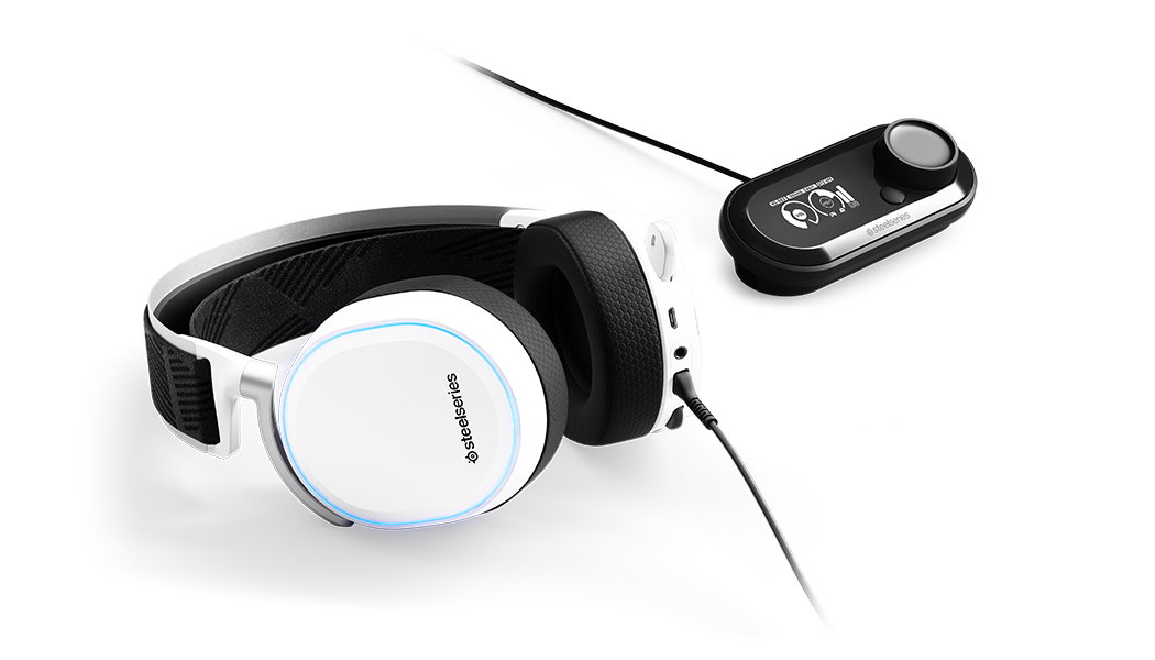 Arctis Pro White and GameDac laying flat, RGB illumination