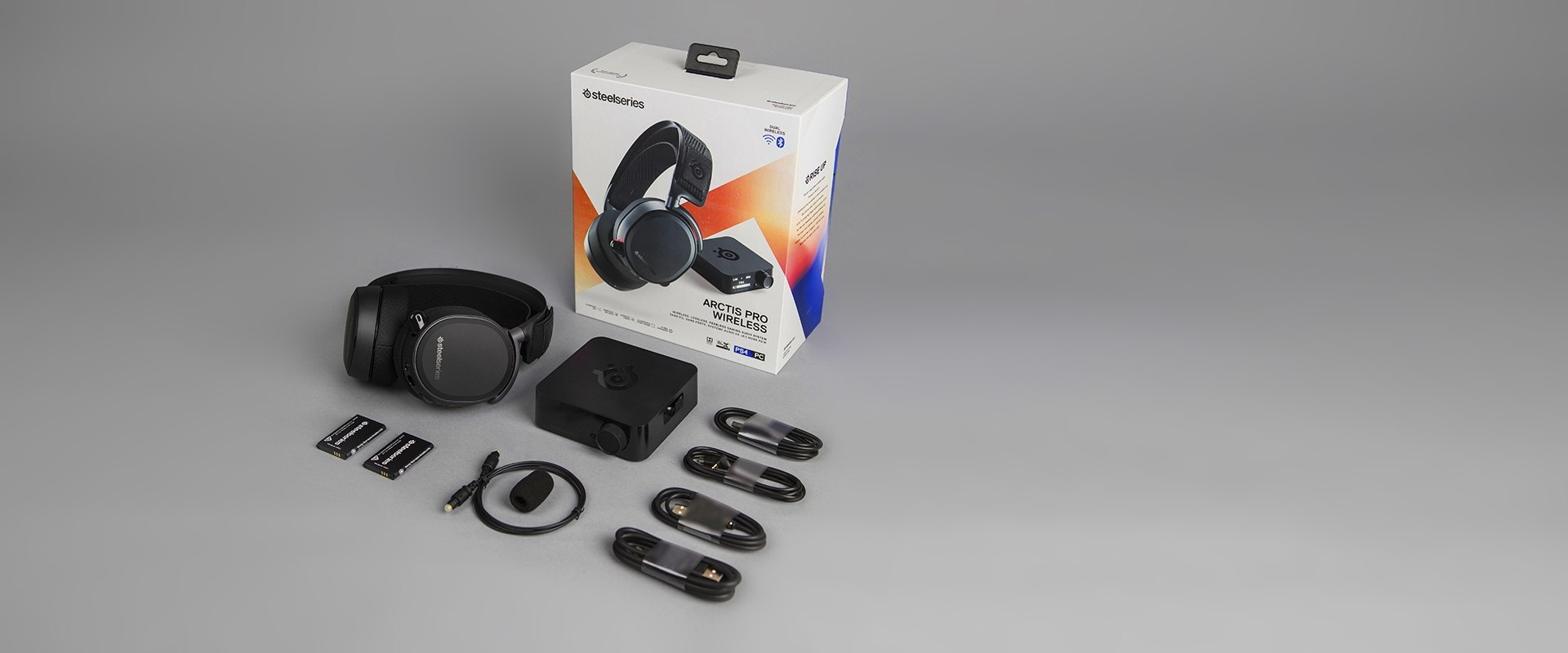 The exterior packaging and box contents for the Arctis Pro Wireless