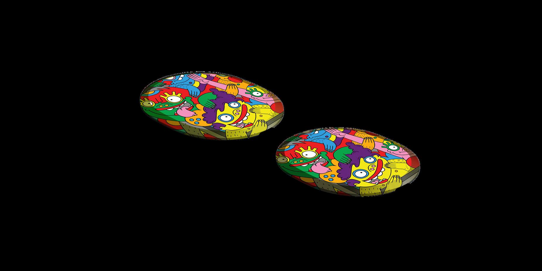 Two Arctis Pro speaker plates designed by artist Lauren Asta