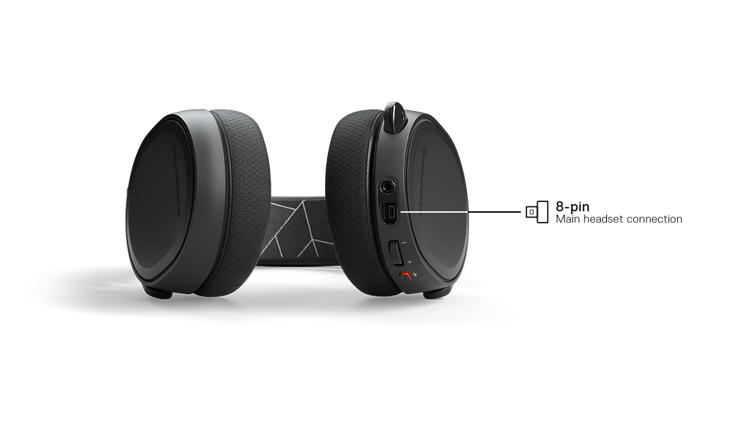 An Arctis 3 headset is visible and an arrow points to where the cable is inserted into the bottom of the headset
