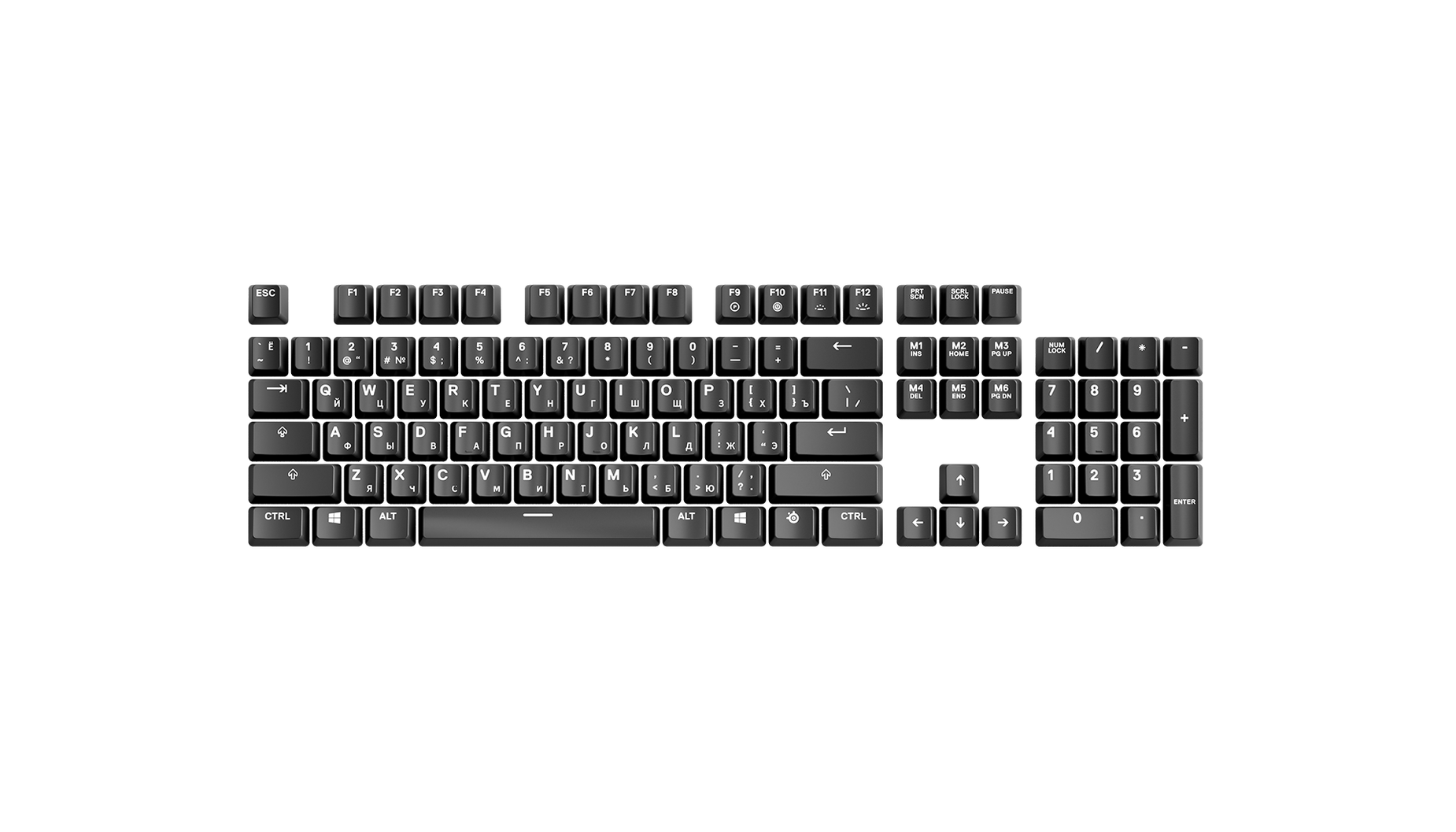 Russian replacement keycap set laid out in QWERTY