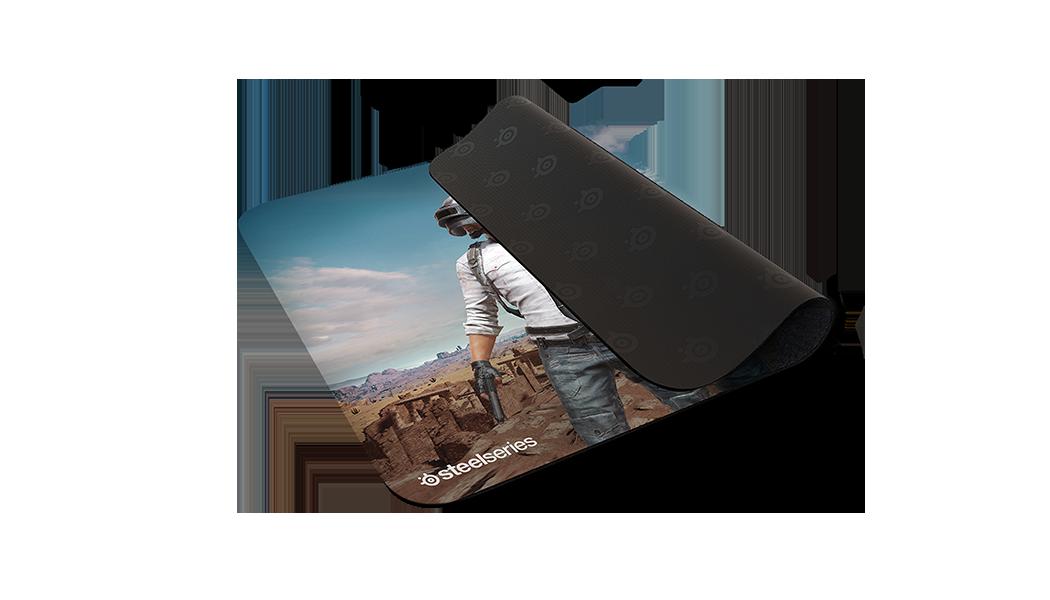 QcK+ PUBG Miramar Edition gaming mousepad, half-folded