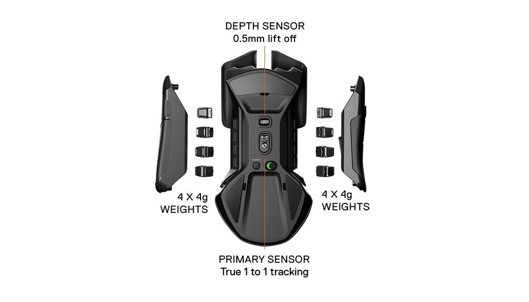 Rival 650 Wireless with sides opened showing removable weights. Depth Sensor 0.5mm lift off. 4x 4g weights. Primary sensor, true 1 to 1 tracking. 4x 4g weights.