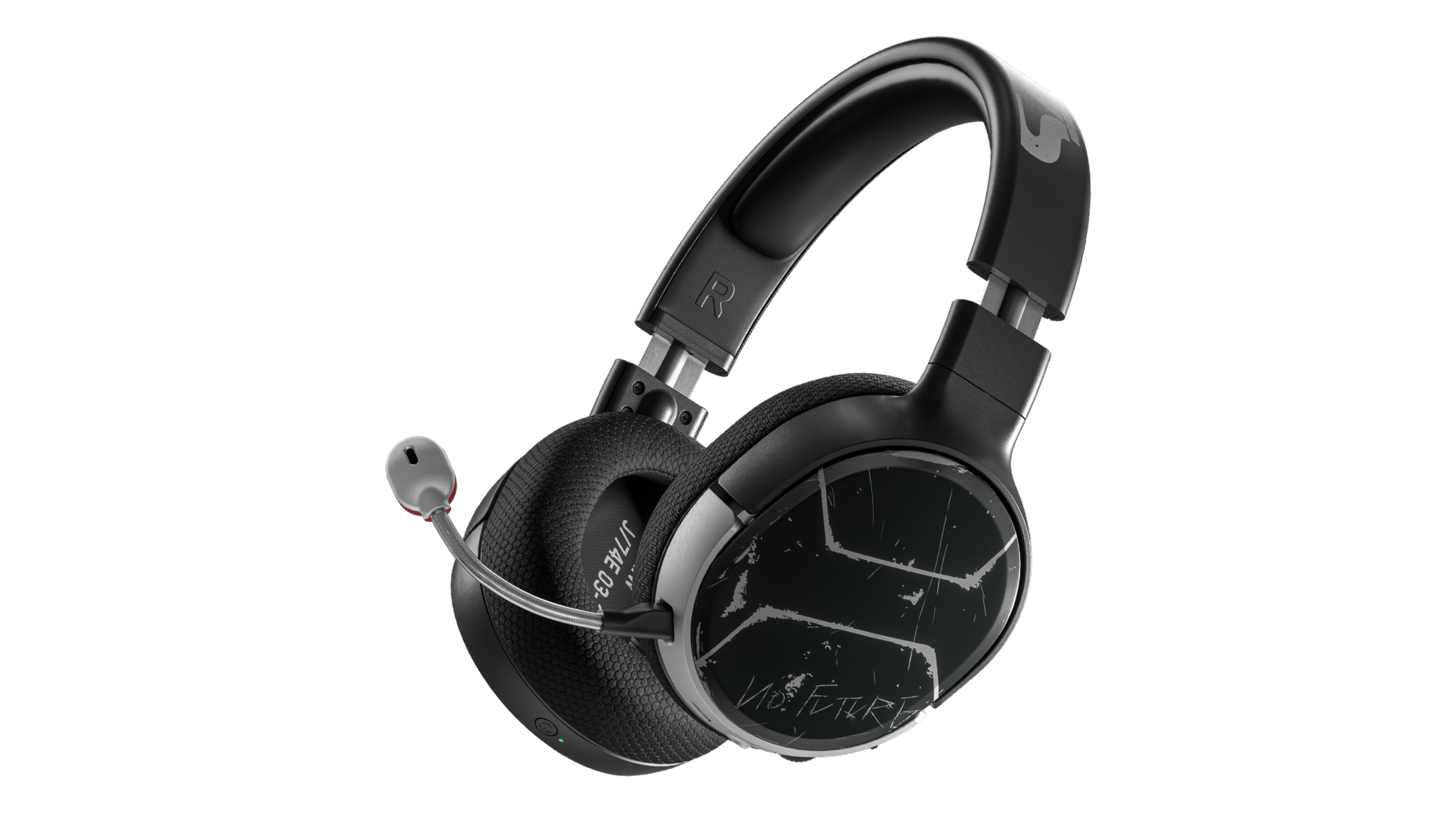 Arctis 1 Wireless for Xbox Cyberpunk Edition Gaming-Headset in Schrägansicht mit befestigtem Mikrofon