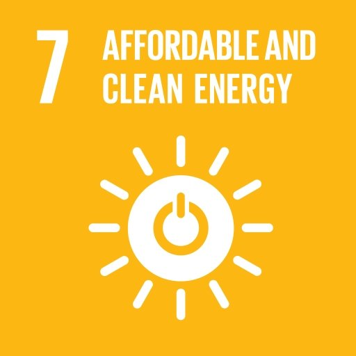 """UN sustainable development goal logo with sun symbol and text """"Affordable and Clean Energy""""."""