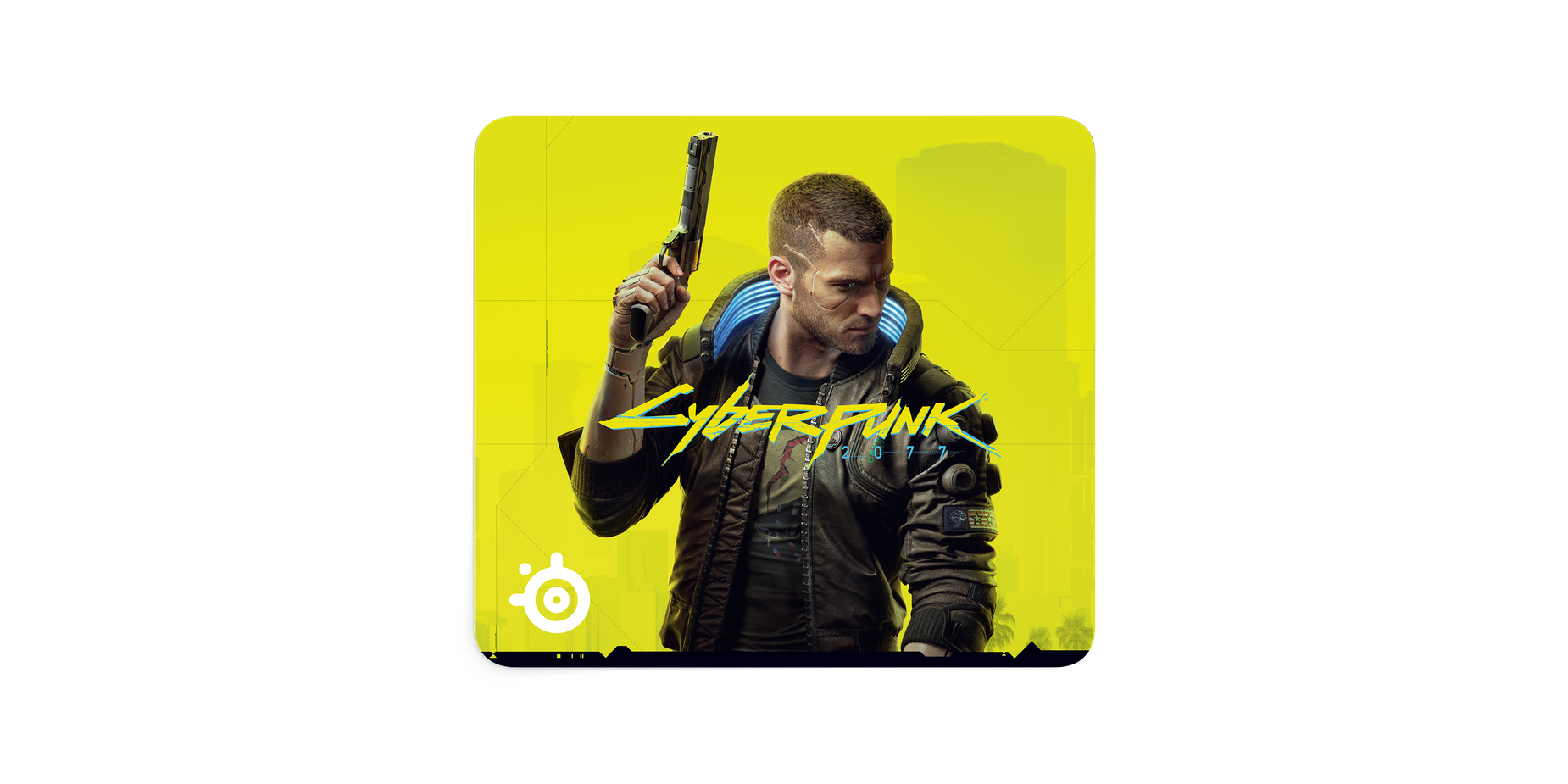 QcK Large mousepad covered completely in art from the game Cyberpunk 2077.