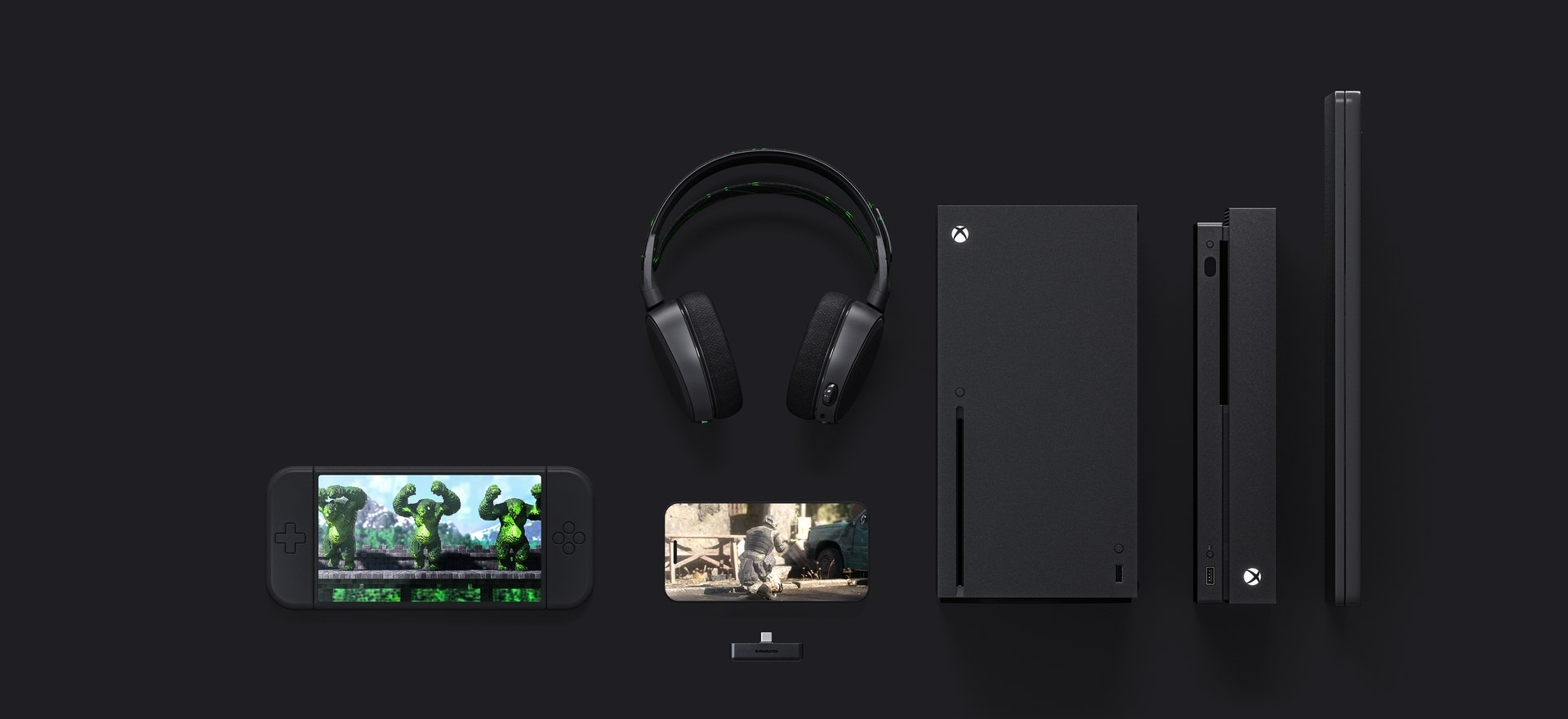 Android, iphone, xbox one, xbox series x, and PC all showing connectivity to headset