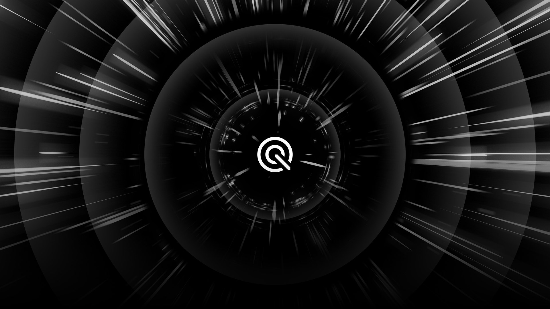 A warp-speed tunnel showing the quantum 2,0 dual wireless logo in the center.