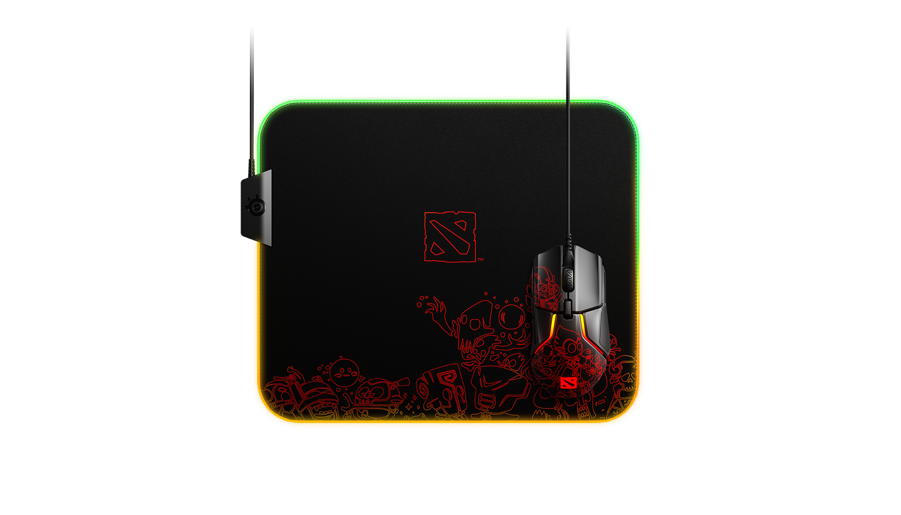 QcK Prism Dota2 gaming mousepad with RGB on edges, face on view