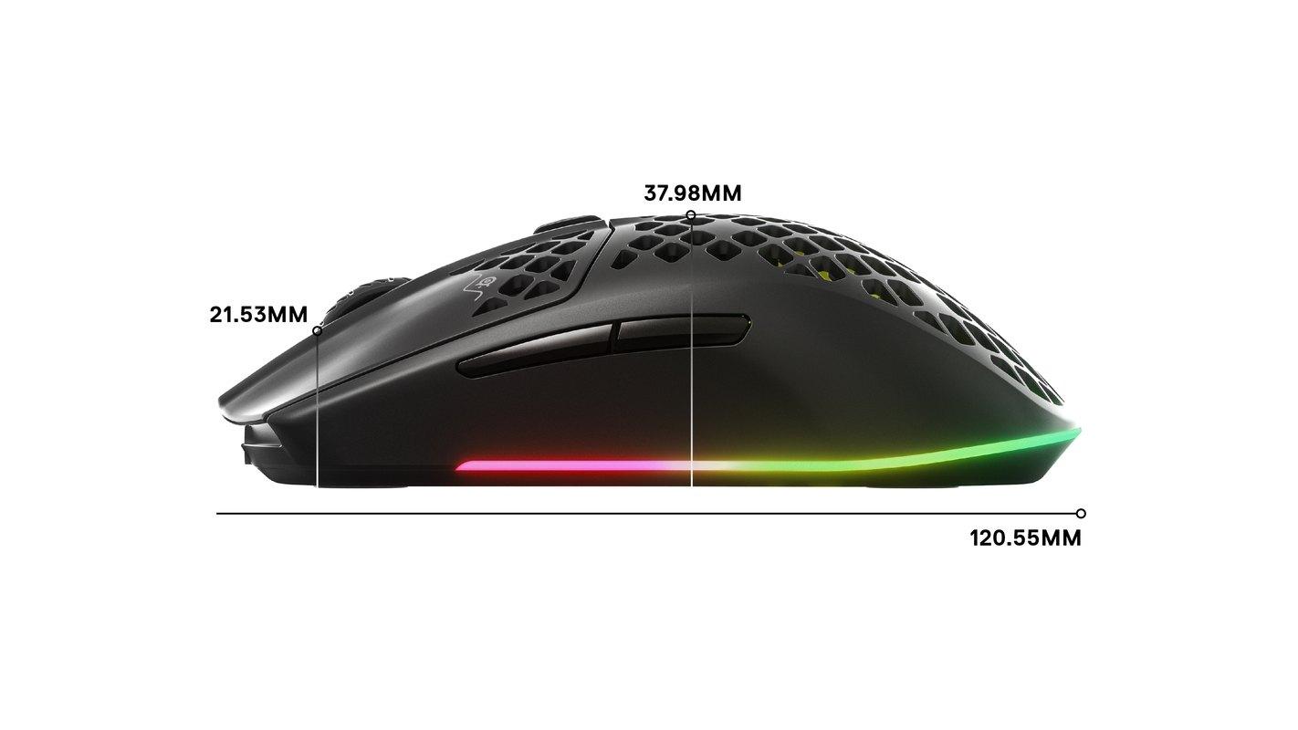 Dimensions latérales de l'Aerox: longueur: 120,5mm; hauteur à l'avant: 21,5mm; hauteur au milieu: 38mm