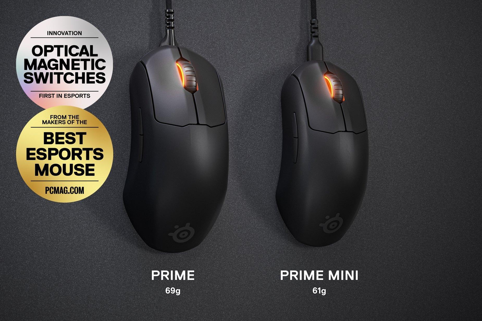 """Prime Mini- och Prime-mus sida vid sida för att visa skillnaden i storlek. Texten till vänster lyder """"Prime: 69 gram."""" Texten till höger lyder """"Prime Mini: 61 gram."""""""