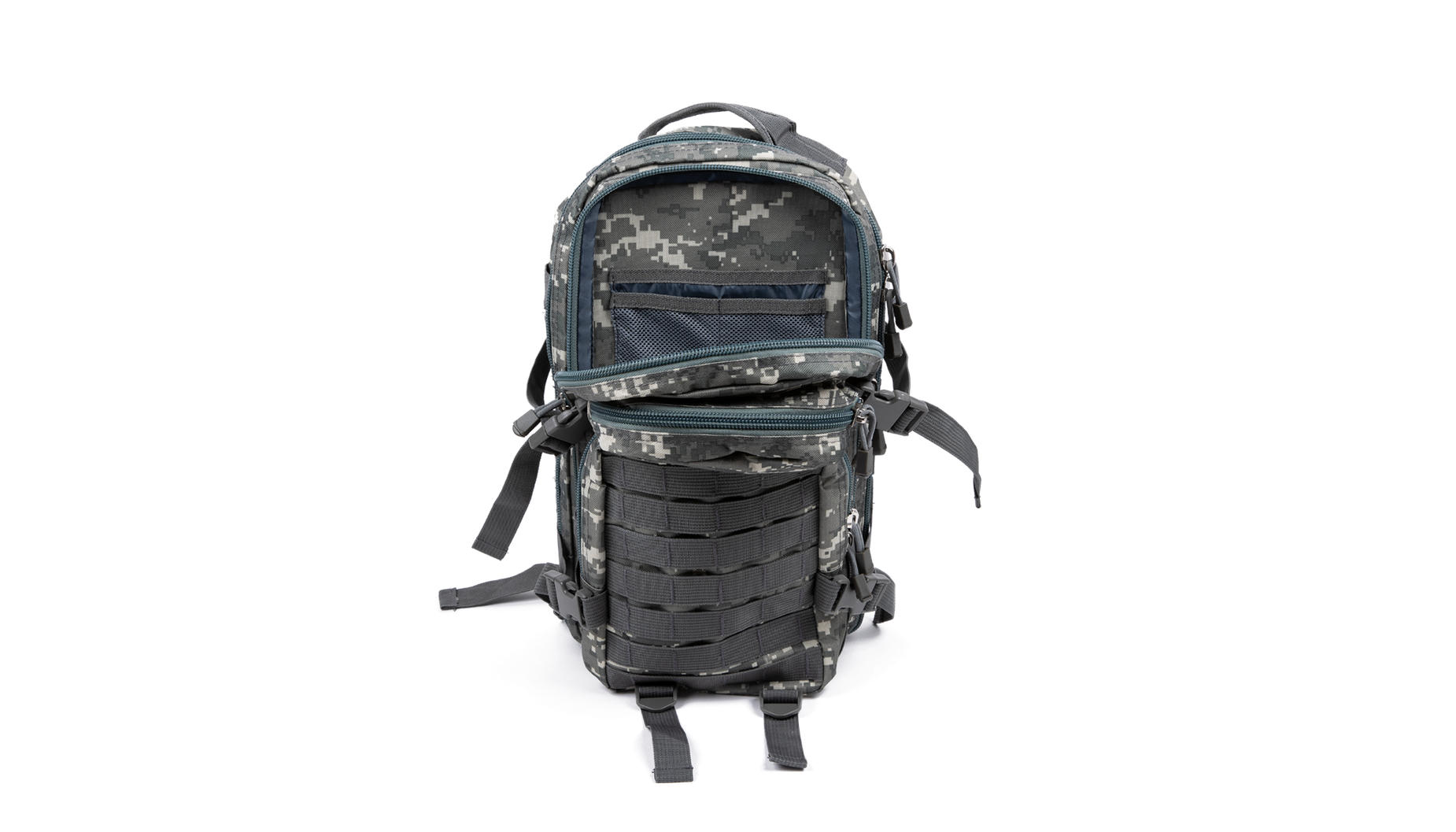 Back of the camo backpack with pockets opened to show interior