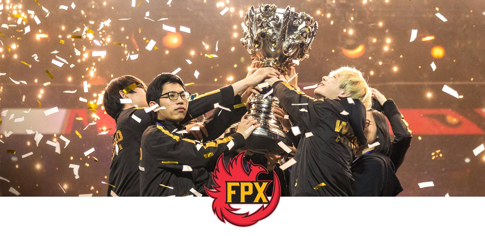Team FPF logo with them winning a trophy and holding it together