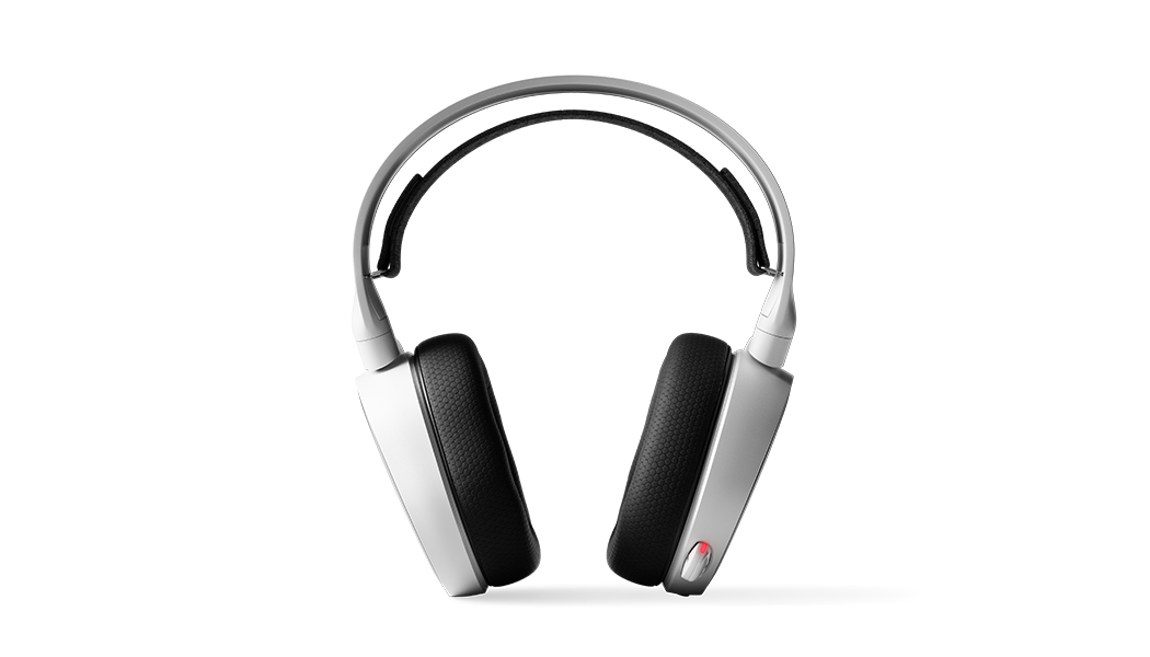 Front view of the Arctis 5 white headset