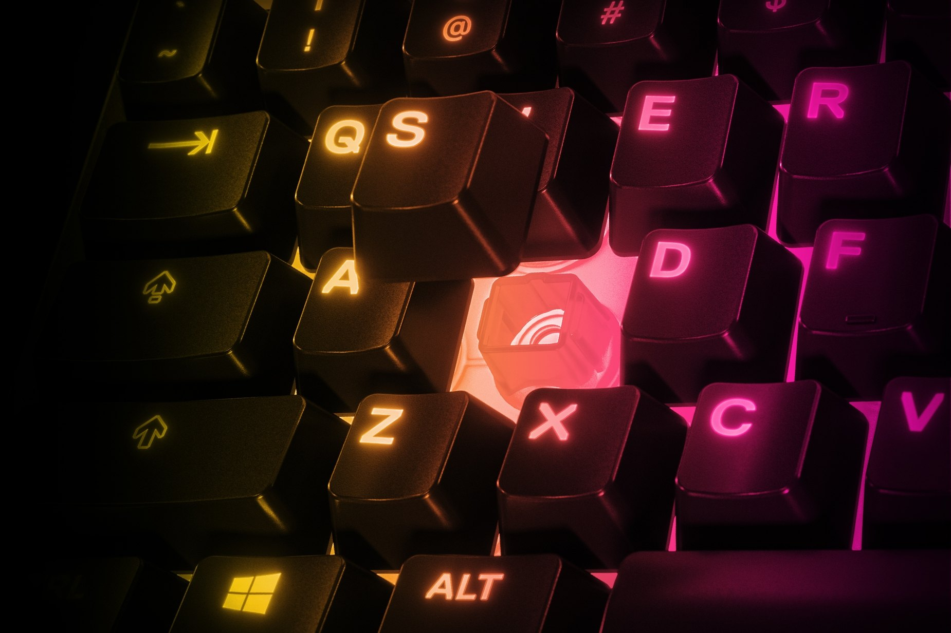 """Nahaufnahme der Tasten mit RGB-Beleuchtung einer """"Apex 3TKL""""-Tastatur."""