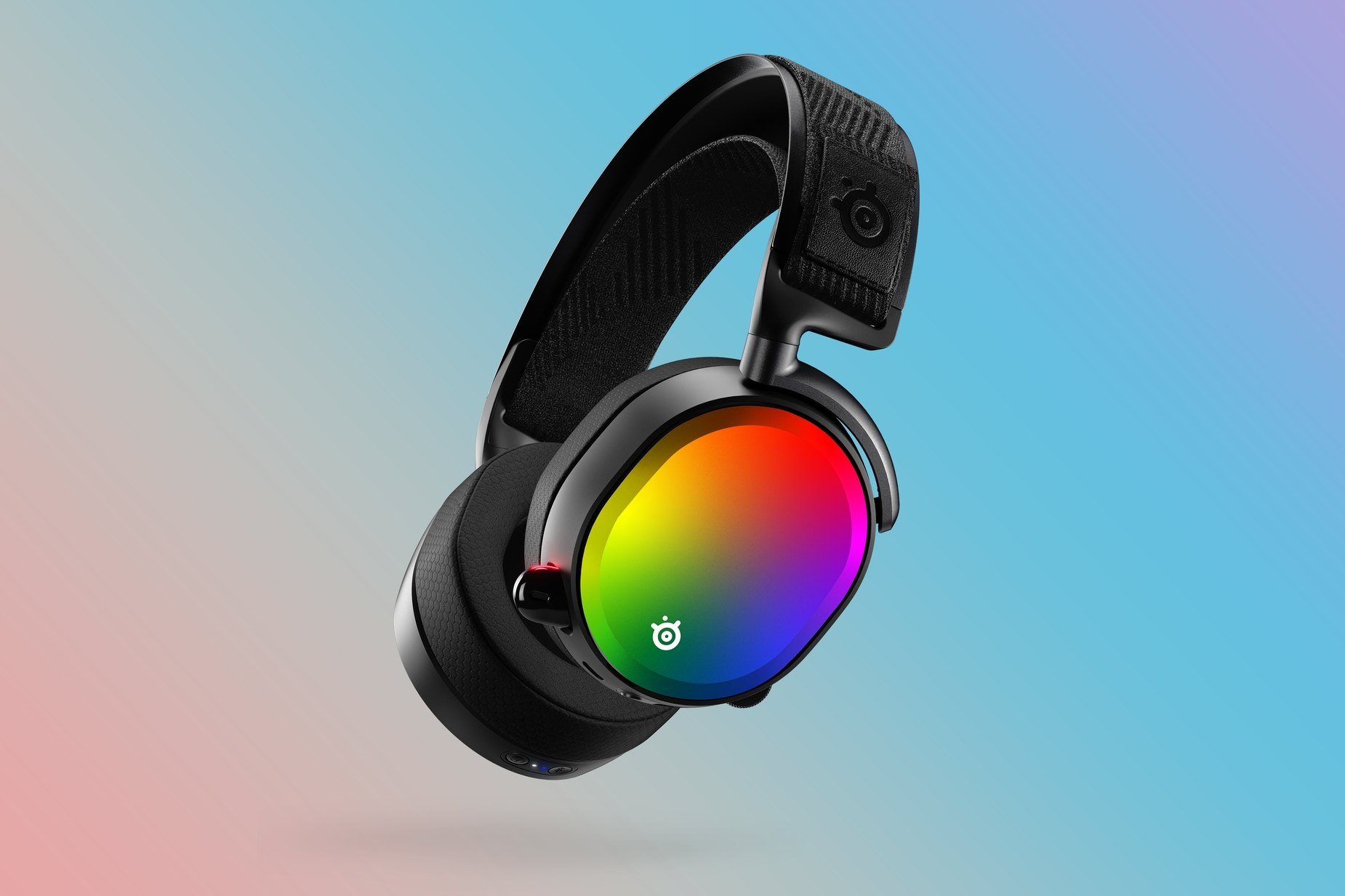 A front facing view of the limited edition rainbow gradient For Pride speaker plates on an Arctis headset.