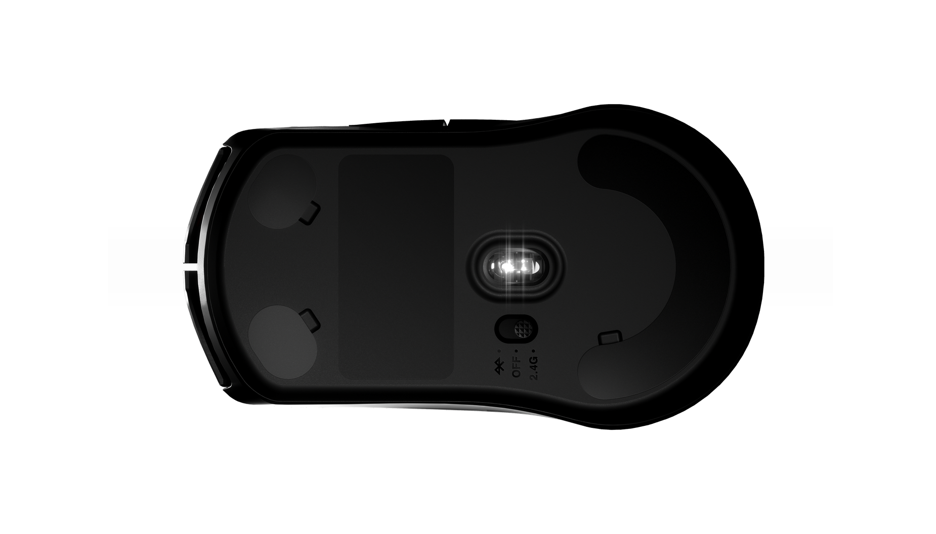 Bottom of the mouse to display sensor and foot pad placement